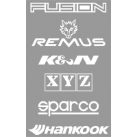 [Nálepky FUSION.sk,REMUS,K&N, XYZ, SPARCO, HANKOOK, biela 15x24cm]