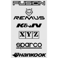 [Nálepky FUSION.sk,REMUS,K&N, XYZ, SPARCO, HANKOOK, čierna 15x24cm]