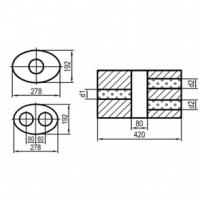 [Univerzálny oválny nerezový tlmič s dvoma prechodmi ver. 2 - obvod 754mm]