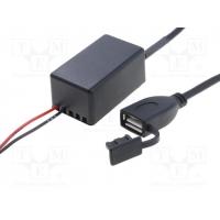 [Nabíjací autoadaptér USB A zásuvka; 12V; 5V/1x2,1A; čierna]