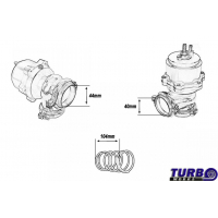 [External Wastegate TurboWorks 44mm 1,0 Bar V-Band Black]