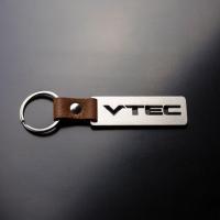 [Oceľový prívesok na kľúče s koženým remienkom VTEC]