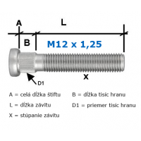 [Predĺžené pozinkované Štifty na kolesa M12x1,25 60mm (D1=13mm/7,5mm/60mm)]