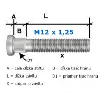 [Predĺžené pozinkované Štifty na kolesa M12x1,25 60mm (D1=14,2mm/7,5mm/60mm)]