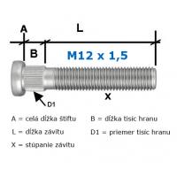 [Predĺžené pozinkované Štifty na kolesa M12x1,5 50mm (D1=12,2mm/7,5mm/50mm)]