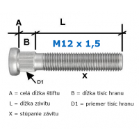 [Predĺžené pozinkované Štifty na kolesa M12x1,5 50mm (D1=15mm/7,6mm/50mm)]