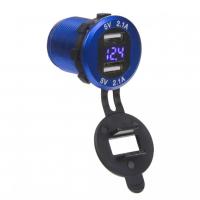 [2x USB nabíjačka s voltmetrom, hliníková do panelu, modrá]