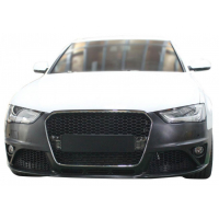 [Zderzak przedni + Grill Chrom-Czarny Audi A4 B8 13-16 RS4 Style]