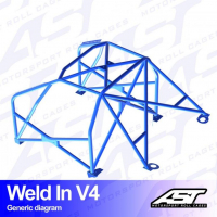 [Roll Cage VW Scirocco (Mk3) 3-doors Hatchback WELD IN V4]
